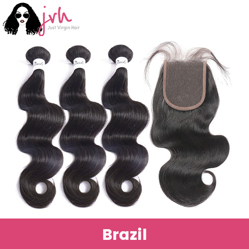 Brazilian Body Wave Virgin Hair 3 Bundles with Lace Closure