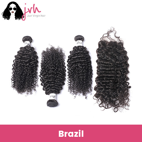 Brazilian Curly Virgin Hair 3 Bundles with Lace Closure