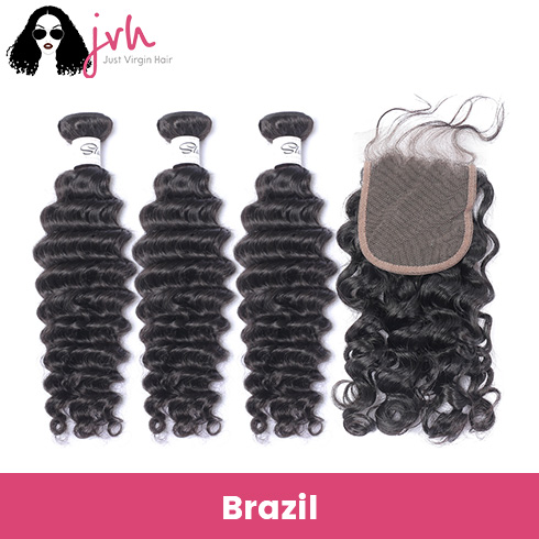 Brazilian Deep Wave Virgin Hair 3 Bundles with Lace Closure