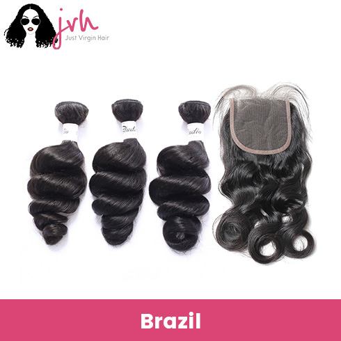 Brazilian Loose Wave Virgin Hair 3 Bundles with Lace Closure