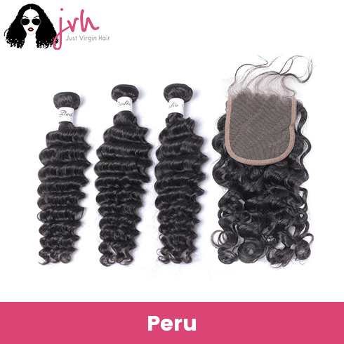 Peruvian Deep Wave Virgin Hair 3 Bundles with Lace Closure
