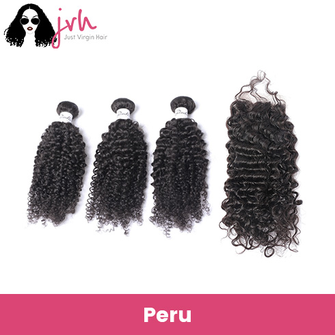 Peruvian Curly Virgin Hair 3 Bundles with Lace Closure