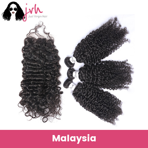 Malaysian Curly Virgin Hair 3 Bundles with Lace Closure