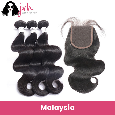 Malaysian Body Wave Virgin Hair 3 Bundles with Lace Closure