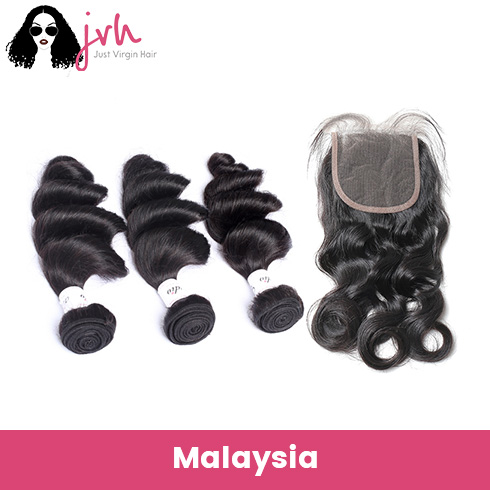 Malaysian Loose Wave Virgin Hair 3 Bundles with Lace Closure