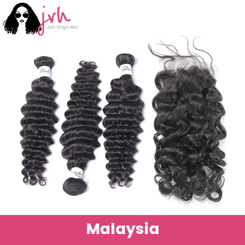 Malaysian Deep Wave Virgin Hair 3 Bundles with Lace Closure