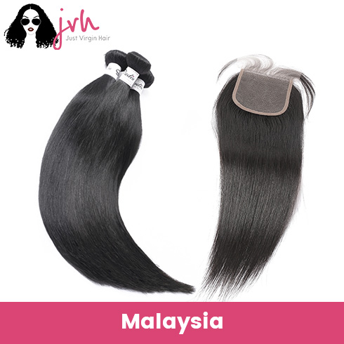 Malaysian Straight Virgin Hair 3 Bundles with Lace Closure