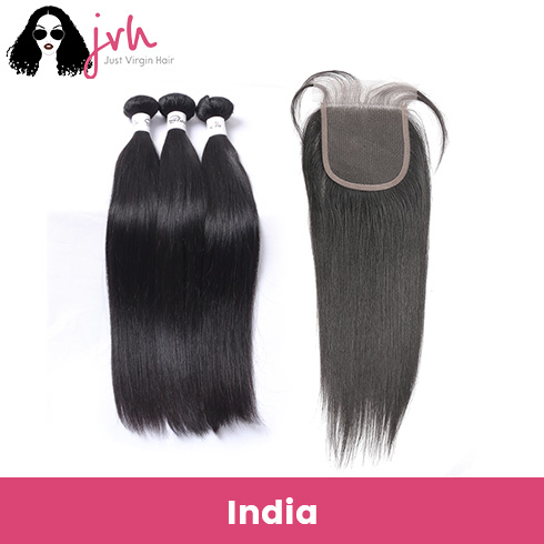Indian Straight Virgin Hair 3 Bundles with Lace Closure