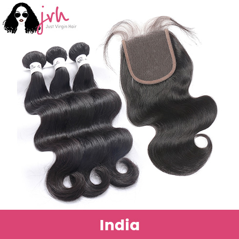 Indian Body Wave Virgin Hair 3 Bundles with Lace Closure
