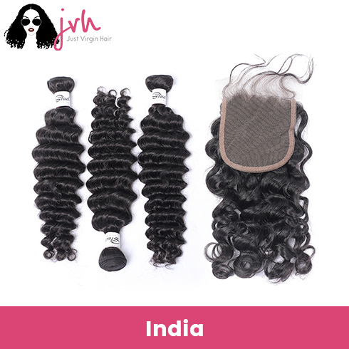 Indian Deep Wave Virgin Hair 3 Bundles with Lace Closure