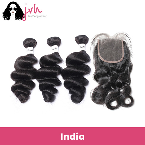 Indian Loose Wave Virgin Hair 3 Bundles with Lace Closure