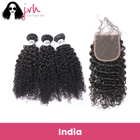 Indian Curly Virgin Hair 3 Bundles with Lace Closure