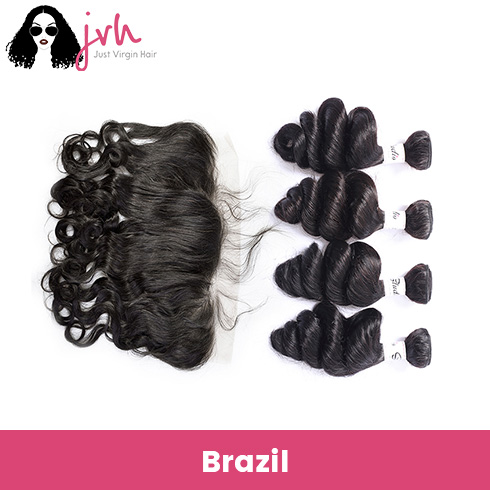 Brazilian Virgin Hair Loose Wave 4 Bundles with Lace Frontal