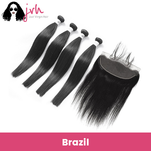 Brazilian Virgin Hair Straight 4 Bundles with Lace Frontal