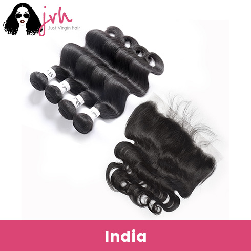 Indian Virgin Hair Body Wave 4 Bundles with Lace Frontal