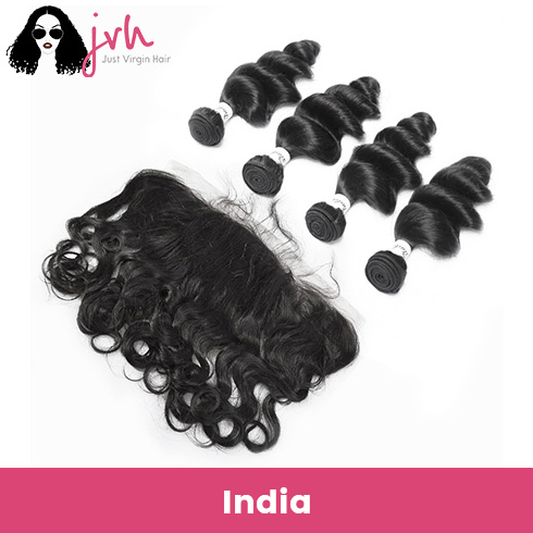 Indian Virgin Hair Loose Wave 4 Bundles with Lace Frontal
