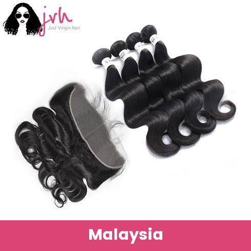 Malaysian Virgin Hair Body Wave 4 Bundles with Lace Frontal