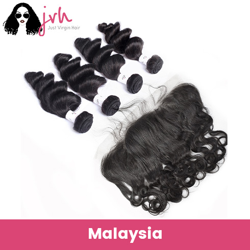 Malaysian Virgin Hair Loose Wave 4 Bundles with Lace Frontal