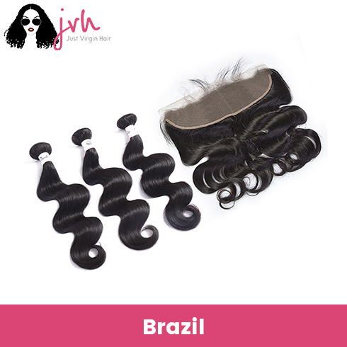 Brazilian Virgin Hair Body Wave 3 Bundles with Lace Frontal