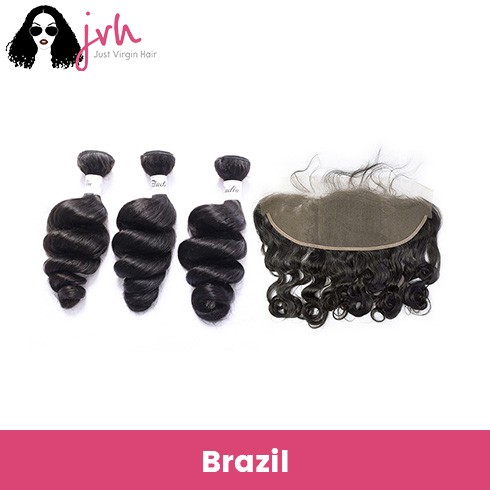Brazilian Virgin Hair Loose Wave 3 Bundles with Lace Frontal