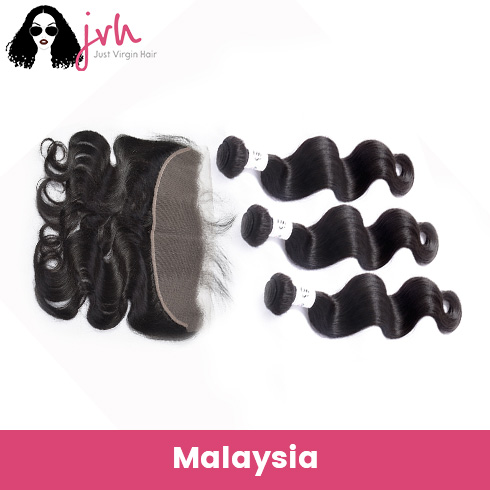 Malaysian Virgin Hair Body Wave 3 Bundles with Lace Frontal