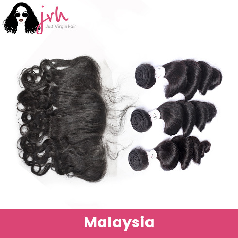 Malaysian Virgin Hair Loose Wave 3 Bundles with Lace Frontal