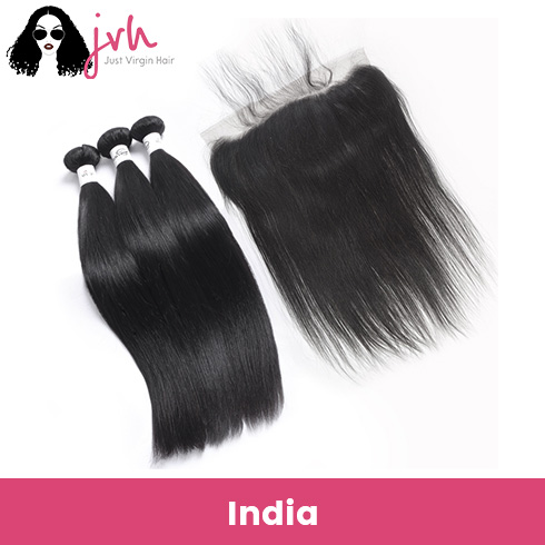Indian Virgin Hair Straight 3 Bundles with Lace Frontal