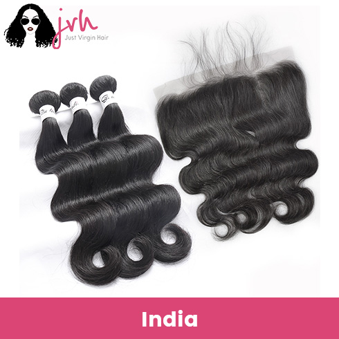 Indian Virgin Hair Body Wave 3 Bundles with Lace Frontal