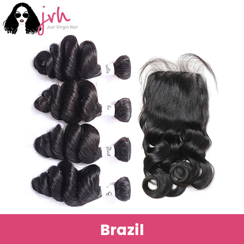 Brazilian Virgin Hair Loose Wave 4 Bundles with Lace Closure