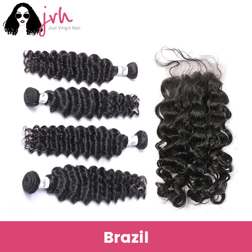 Brazilian Virgin Hair Deep Wave 4 Bundles with Lace Closure