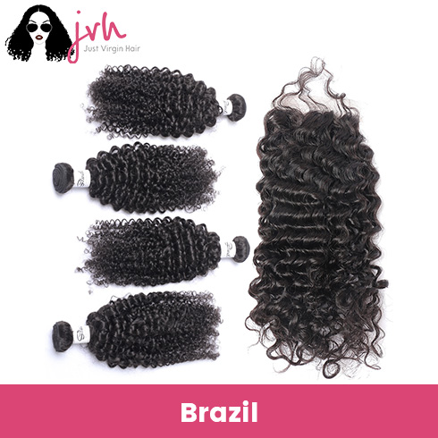 Brazilian Curly Virgin Hair 4 Bundles with Lace Closure