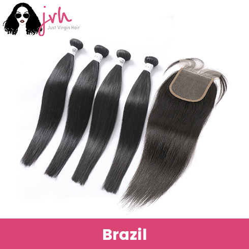 Brazilian Straight Virgin Hair 4 Bundles with Lace Closure
