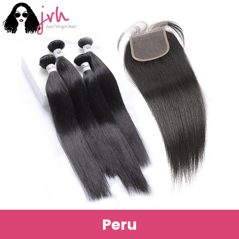 Peruvian Straight Virgin Hair 4 Bundles with Lace Closure