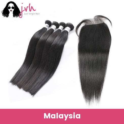 Malaysian Straight Virgin Hair 4 Bundles with Lace Closure