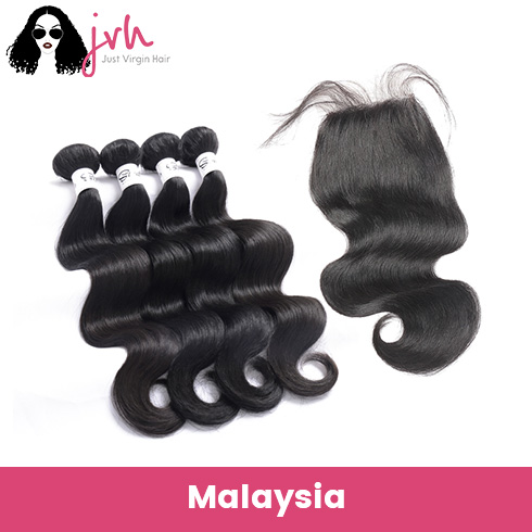 Malaysian Body Wave Virgin Hair 4 Bundles with Lace Closure