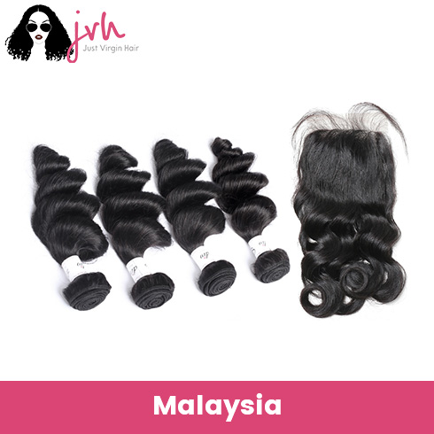 Malaysian Loose Wave Virgin Hair 4 Bundles with Lace Closure