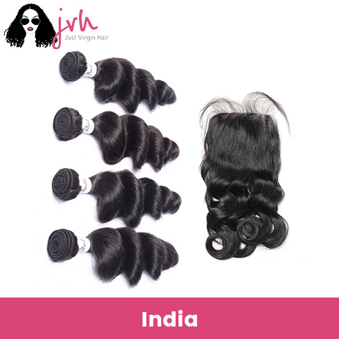 Indian Loose Wave Virgin Hair 4 Bundles with Lace Closure