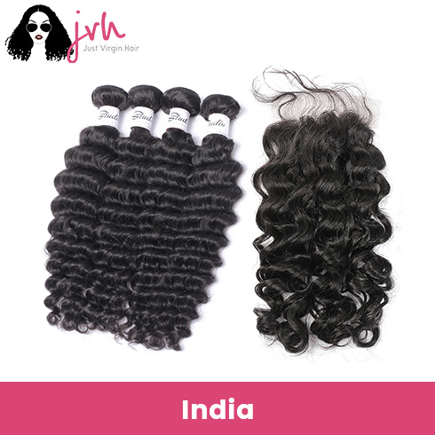 Indian Deep Wave Virgin Hair 4 Bundles with Lace Closure