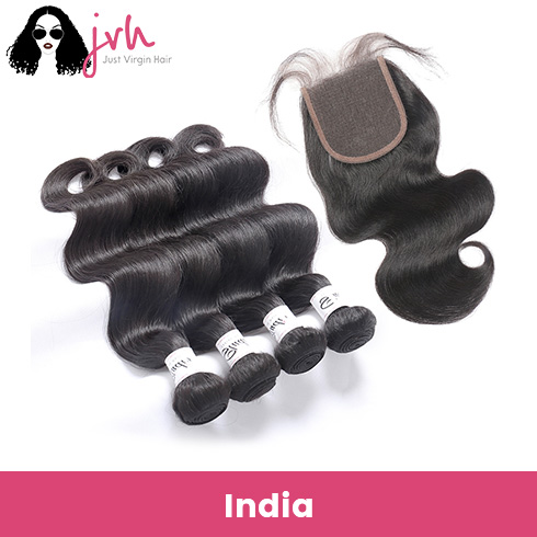 Indian Body Wave Virgin Hair 4 Bundles with Lace Closure