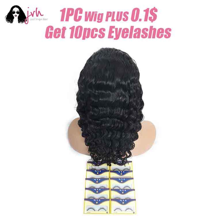 Buy one wigs plus 0.1$ get 10pcs eyelashes