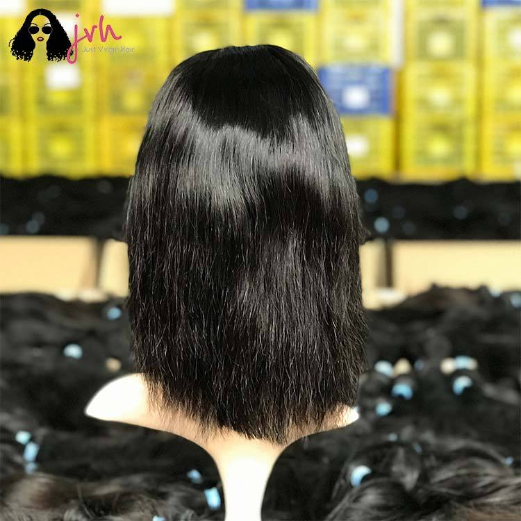 100 Human Hair Lace Front Wigs With Baby Hair For Black Women Bob Natural Straight 13*4 150% Density