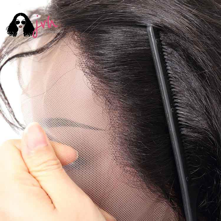 Black Long Human Hair Wigs With Baby Hair Body Wave 13*4 150% Density