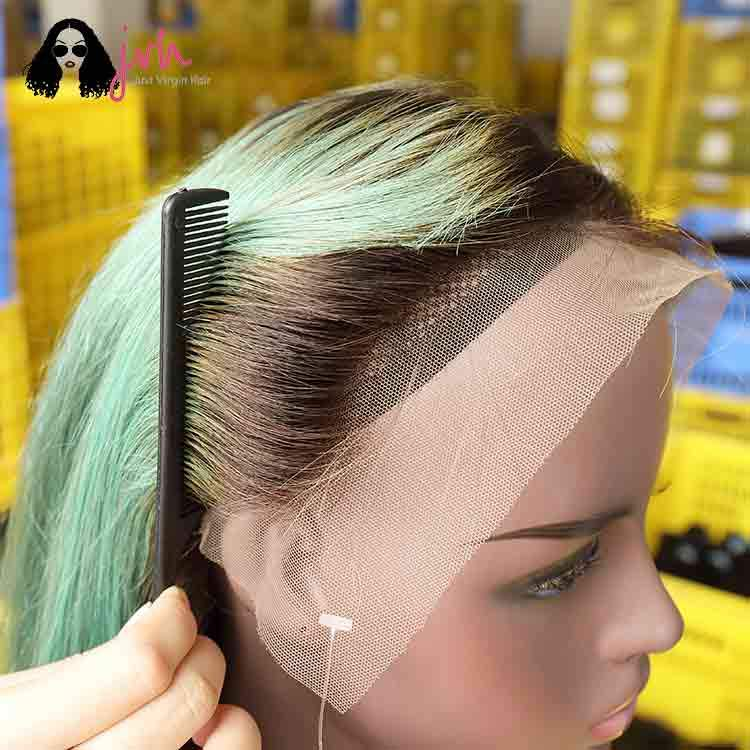 Green Natural Hairline Lace Front Wigs With Baby Hairline 13*4 150% Density