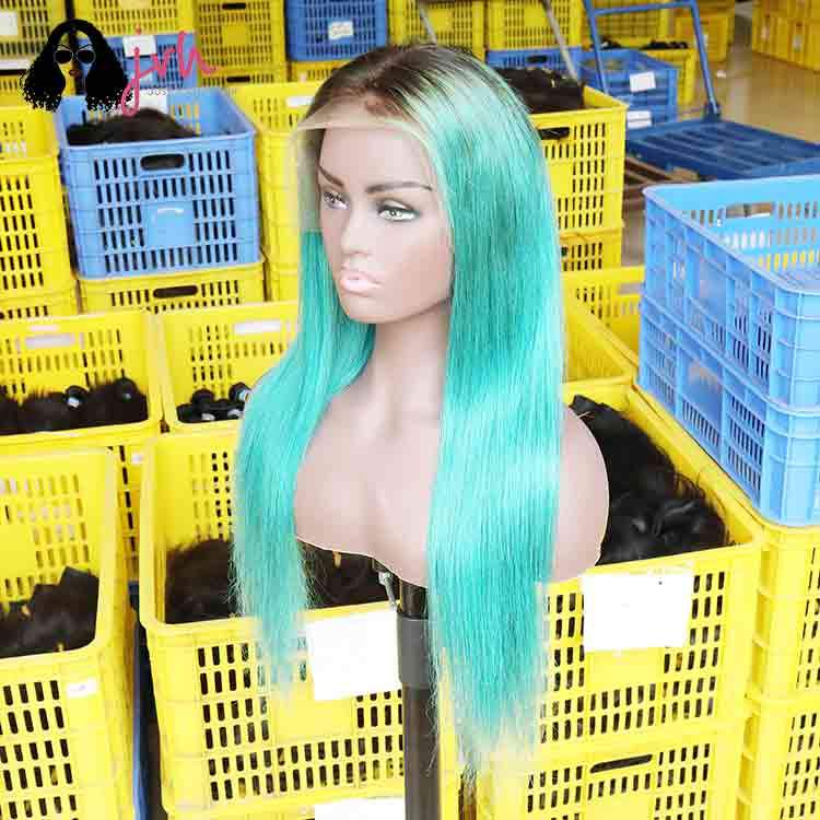 Turquoise Long Straight Hair Wigs For Black Women Online 13*4 150% Density