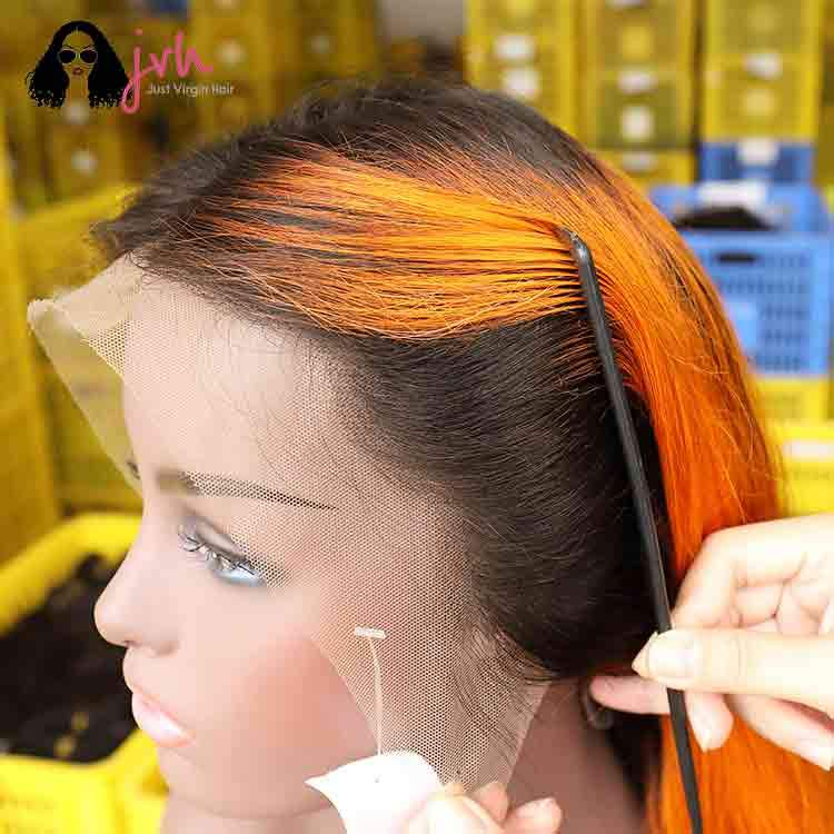Orange Free Part Lace Wig For Sale 13*4 150% Density
