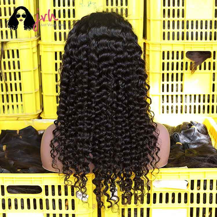Transparent Human Hair Swiss Lace Wig Vendor Deep Wave 13*4/13*5 130%/150% Density